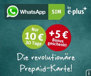 WhatsApp Prepaid-Karte mit 5 Euro Bonus